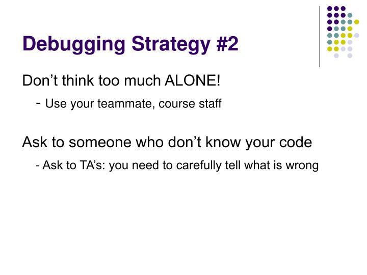 Debugging Strategy #2