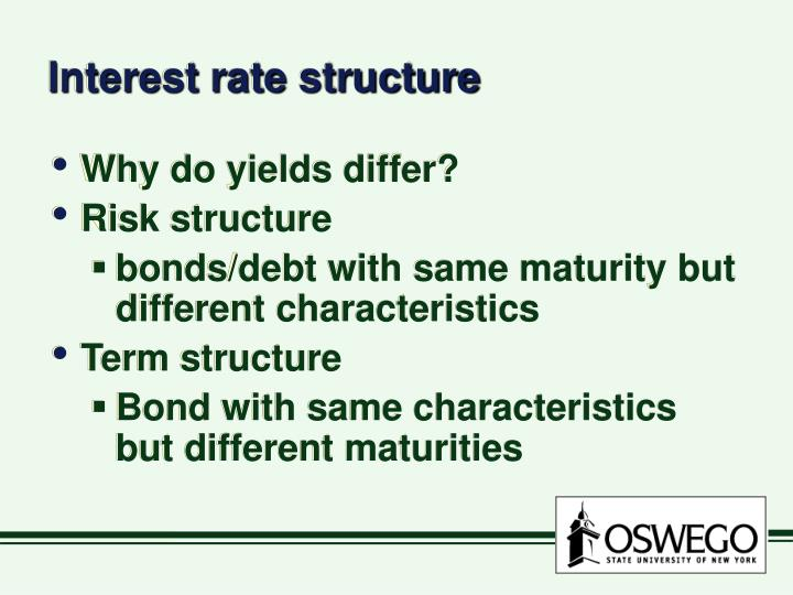 risk and term structure of interest The basic theory of the term structure of interest rates is the expectations hypothesis according to this hypothesis, the expected return from holding a  it ignores interest rate risk except if calculated until maturity, the nominal return on a long bond is uncertain, and.