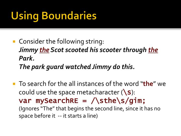 Using Boundaries