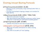 existing unicast routing protocols