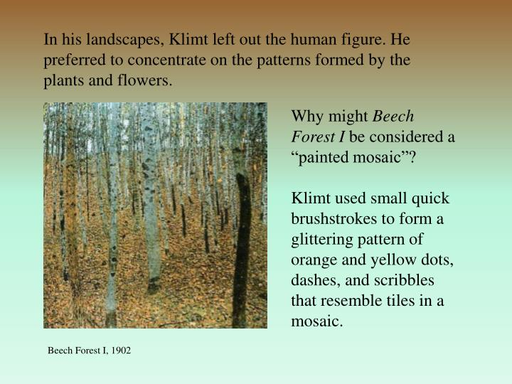 In his landscapes, Klimt left out the human figure. He preferred to concentrate on the patterns formed by the plants and flowers.