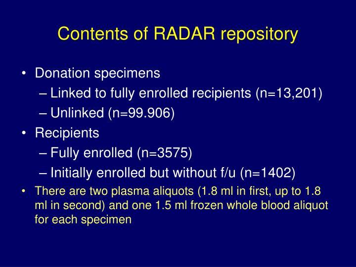 Contents of radar repository