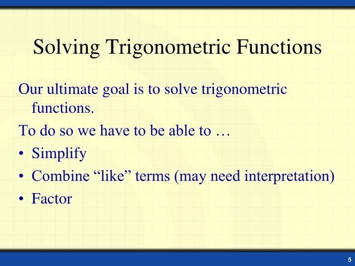 Solving Trigonometric Functions