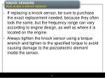 knock sensors replacing a knock sensor