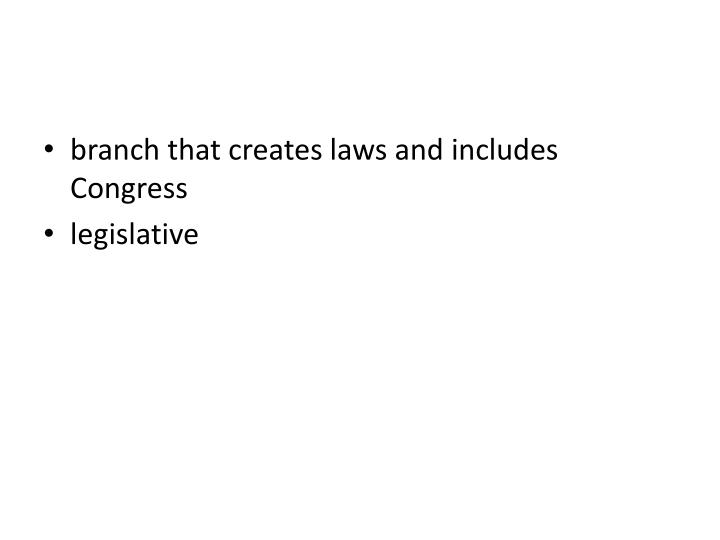 branch that creates laws and includes