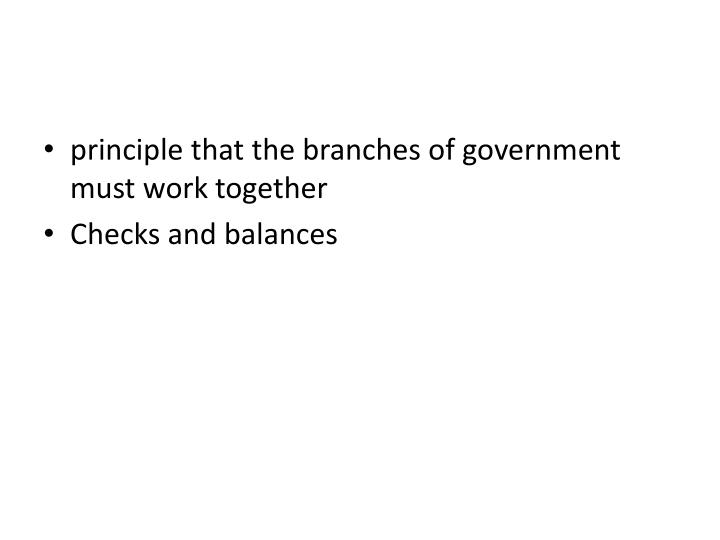 principle that the branches of government must work