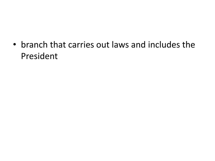 branch that carries out laws and includes the President