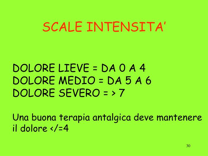 SCALE INTENSITA'