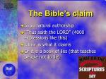 the bible s claim