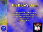 the bible s claim1