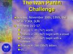 the ivan panin challenge