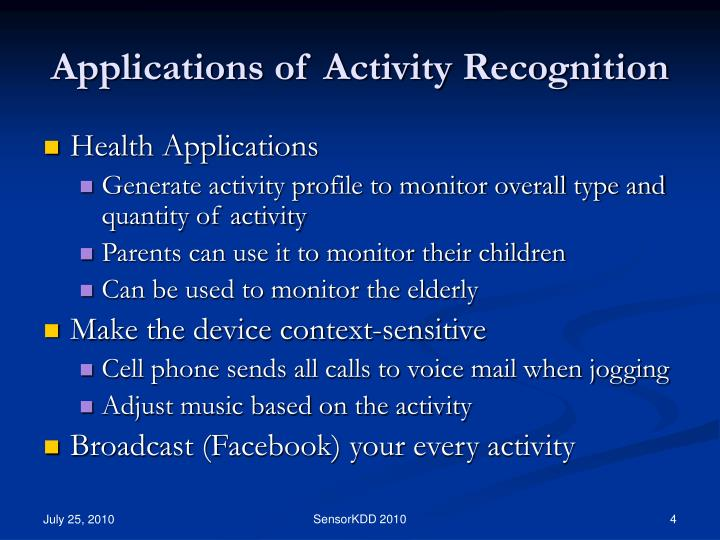 Applications of Activity Recognition