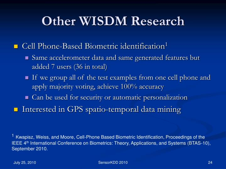 Other WISDM Research