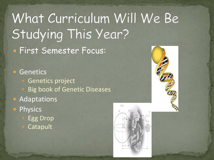 What Curriculum Will We Be Studying This Year?