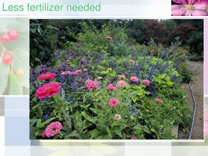 Less fertilizer needed