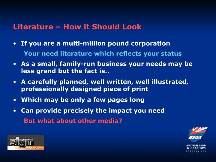 Literature – How it Should Look