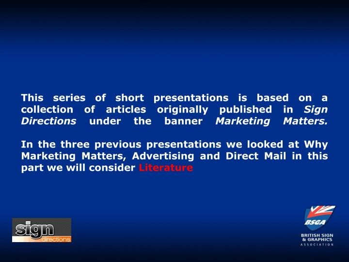 This series of short presentations is based on a collection of articles originally published in