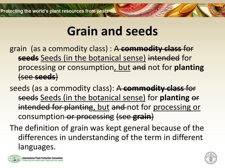 Grain and seeds