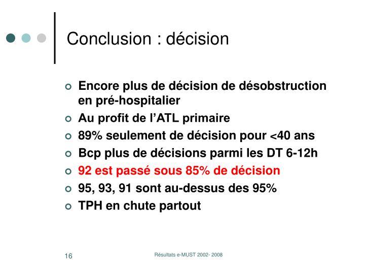 Conclusion : décision