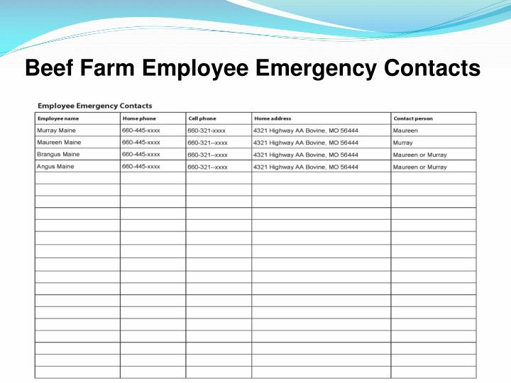Beef Farm Employee Emergency Contacts