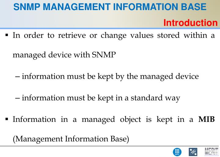 SNMP MANAGEMENT INFORMATION BASE
