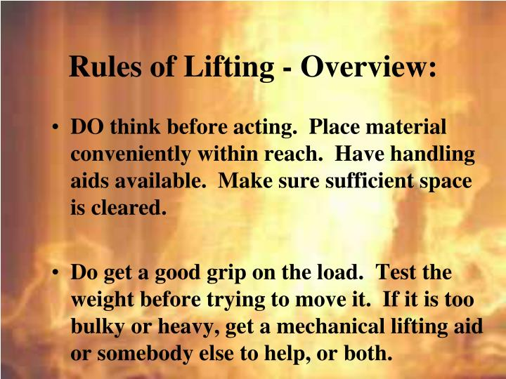 Rules of Lifting - Overview: