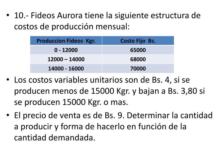 10.- Fideos Aurora tiene la siguiente estructura de costos de producción mensual: