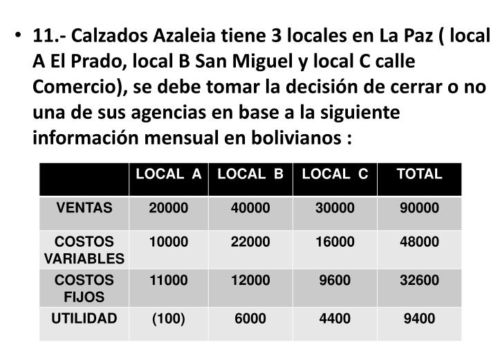 11.- Calzados Azaleia tiene 3 locales en La Paz ( local A El Prado, local B San Miguel y local C calle Comercio), se debe tomar la decisión de cerrar o no una de sus agencias en base a la siguiente información mensual en bolivianos :