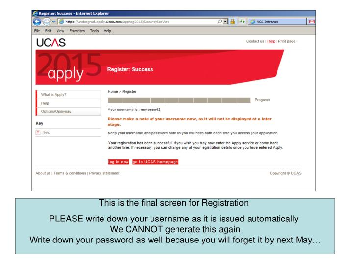 This is the final screen for Registration