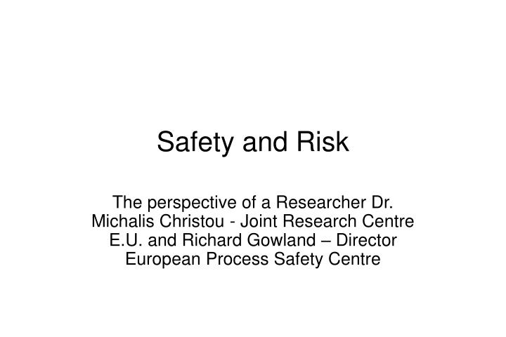 safety and risk n.