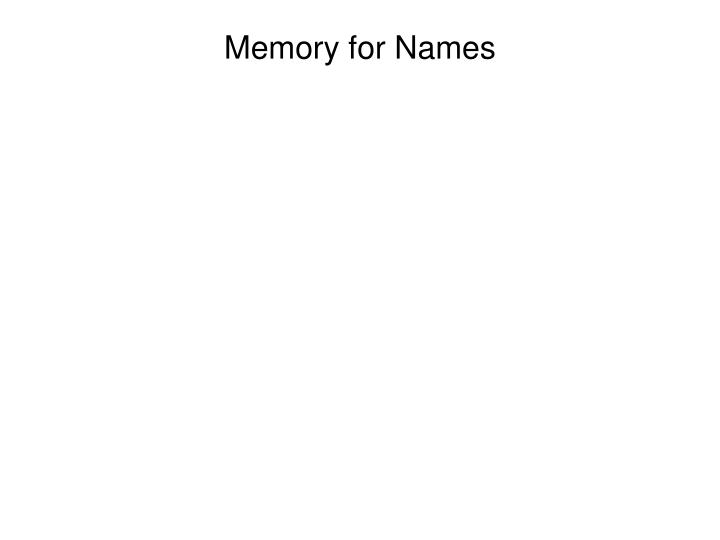 Memory for names