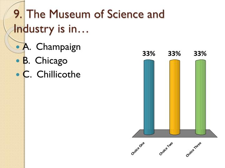 9.  The Museum of Science and Industry is in…