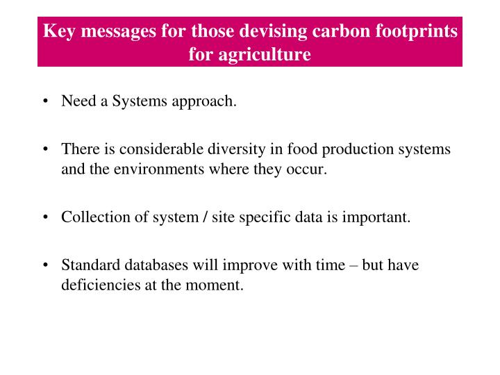 Key messages for those devising carbon footprints for agriculture