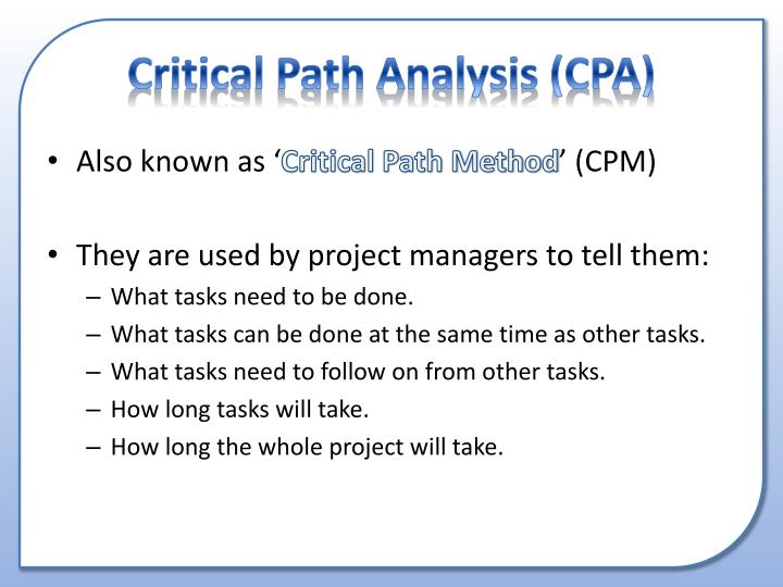 critical path analysis tutorials Critical path method - learn project management concepts using simple and precise free downloadable tutorials prepare for pmi certification and become an efficient project manager.