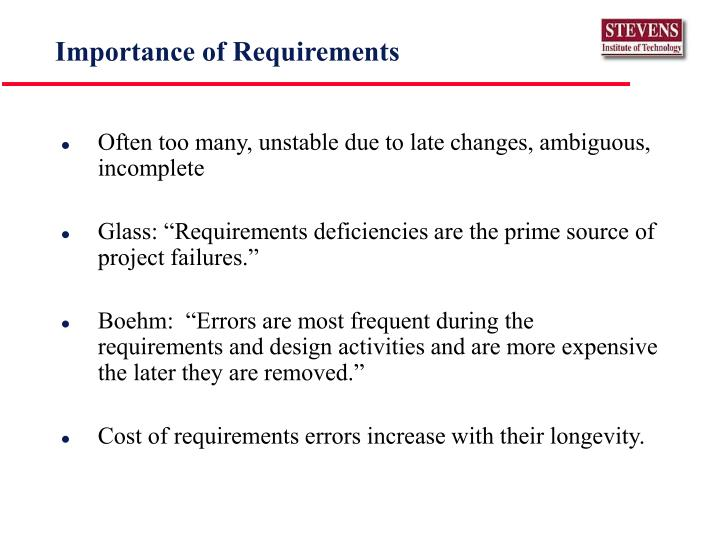 Importance of Requirements