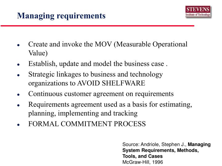 Managing requirements
