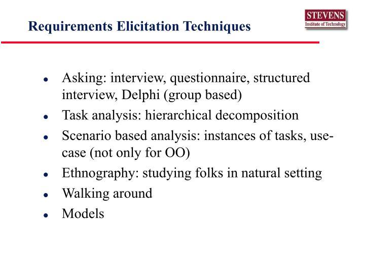 Requirements Elicitation Techniques