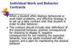 individual work and behavior contracts1