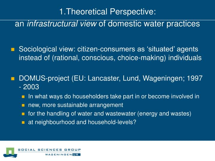 1 theoretical perspective an infrastructural view of domestic water practices