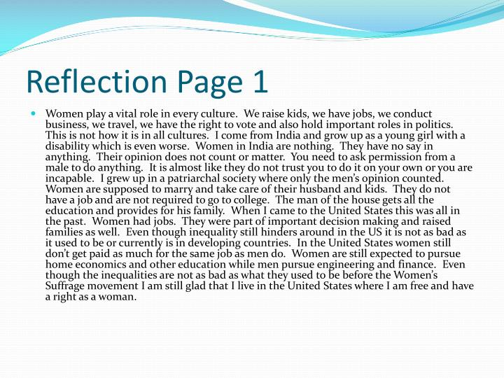 Reflection page 1