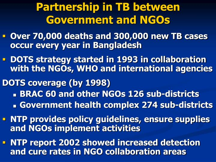 Partnership in TB between Government and NGOs