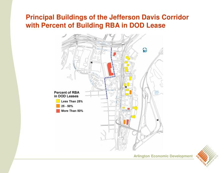Principal Buildings of the Jefferson Davis Corridor with Percent of Building RBA in DOD Lease