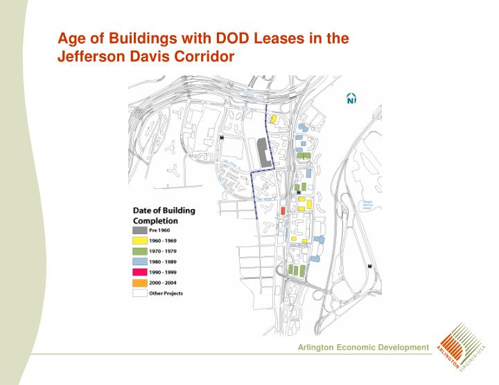 Age of Buildings with DOD Leases in the Jefferson Davis Corridor