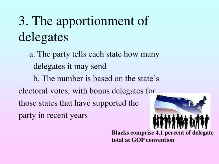 3. The apportionment of delegates