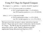 using n v flags for signed compare