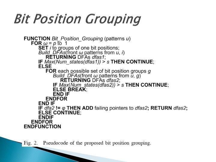Bit Position Grouping
