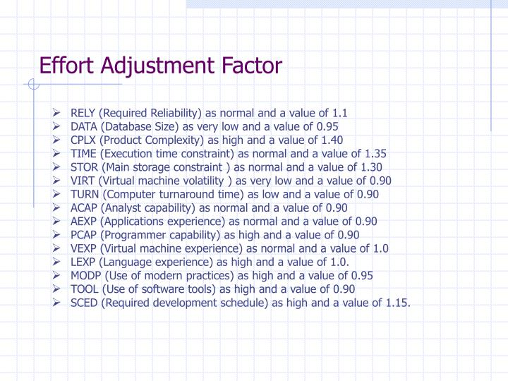 Effort Adjustment Factor