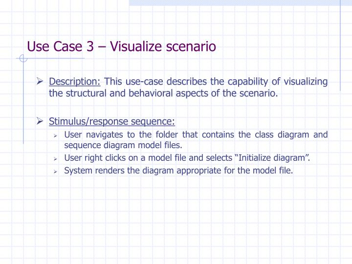 Use Case 3 – Visualize scenario