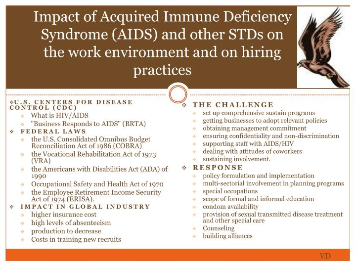 Impact of Acquired Immune Deficiency Syndrome (AIDS) and other STDs on the work environment and on hiring practices