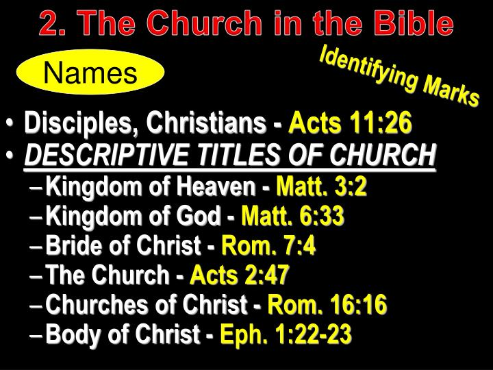 2. The Church in the Bible